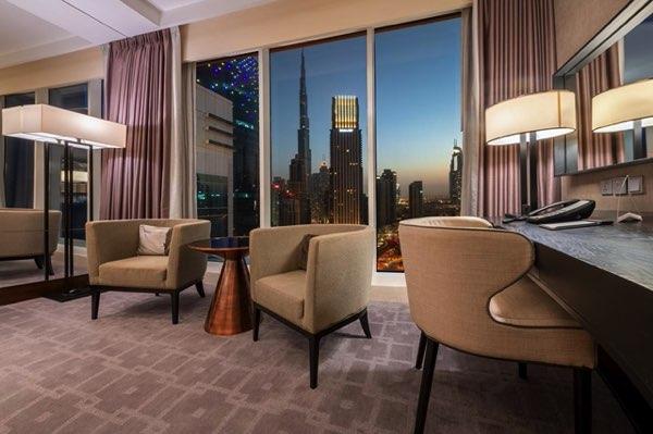 Výhled zSteigenberger Hotel Downtown Dubai